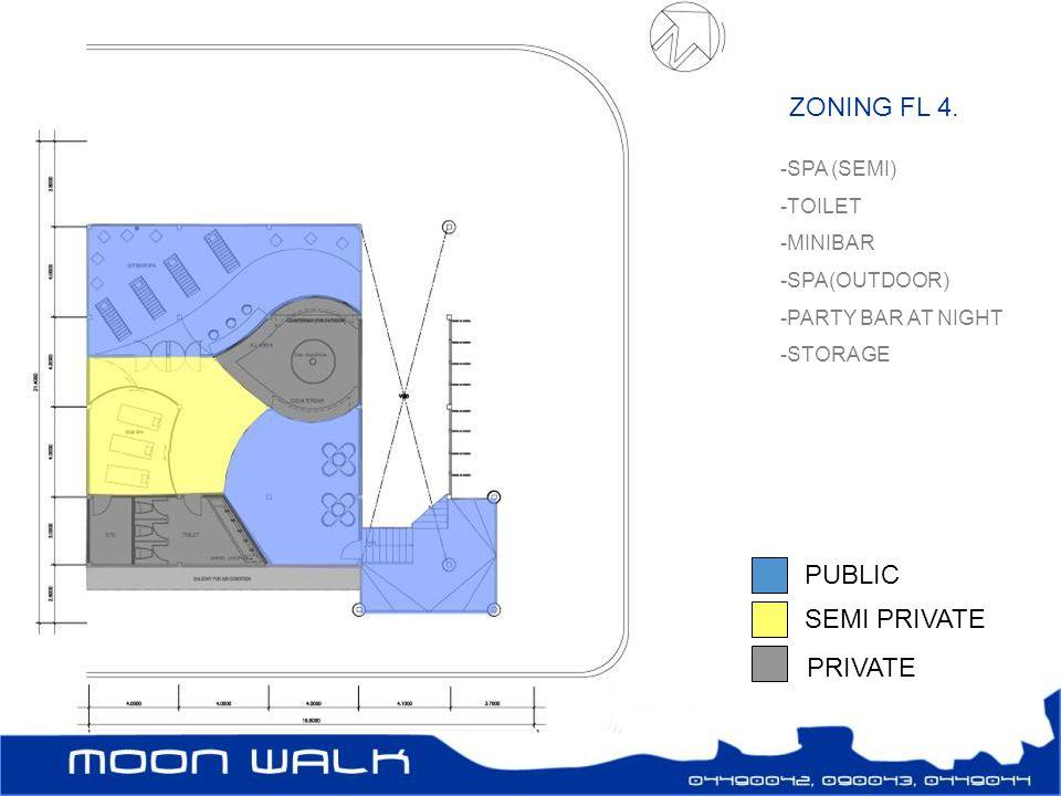 ZONING FL 4. -SPA (SEMI) -TOILET -MINIBAR -SPA(OUTDOOR) -PARTY BAR AT NIGHT -STORAGE PUBLIC SEMI PRIVATE PRIVATE