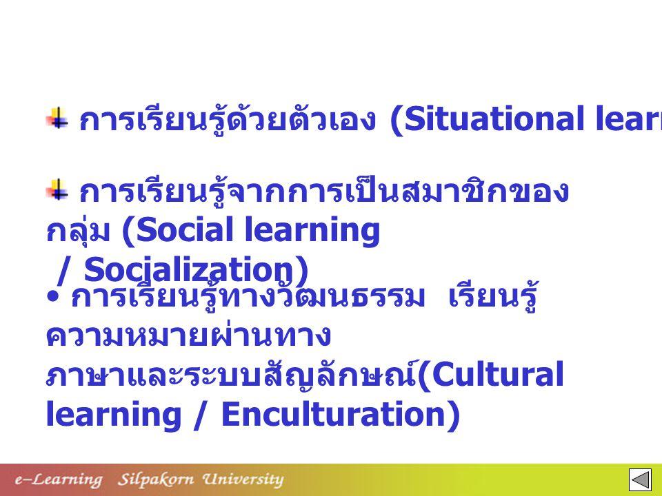 การเรียนรู้ทางวัฒนธรรม เรียนรู้ ความหมายผ่านทาง ภาษาและระบบสัญลักษณ์ (Cultural learning / Enculturation) การเรียนรู้ด้วยตัวเอง (Situational learning)