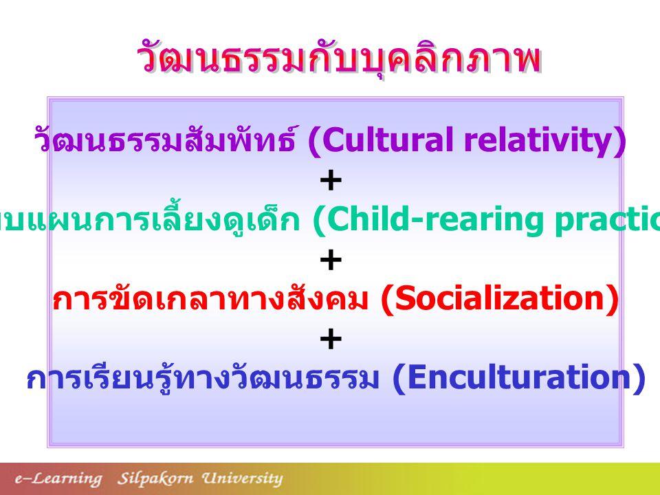 วัฒนธรรมสัมพัทธ์ (Cultural relativity) + แบบแผนการเลี้ยงดูเด็ก (Child-rearing practice) + การขัดเกลาทางสังคม (Socialization) + การเรียนรู้ทางวัฒนธรรม