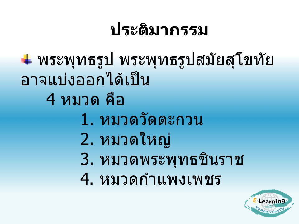 พระพุทธรูป พระพุทธรูปสมัยสุโขทัย อาจแบ่งออกได้เป็น 4 หมวด คือ 1. หมวดวัดตะกวน 2. หมวดใหญ่ 3. หมวดพระพุทธชินราช 4. หมวดกำแพงเพชร ประติมากรรม