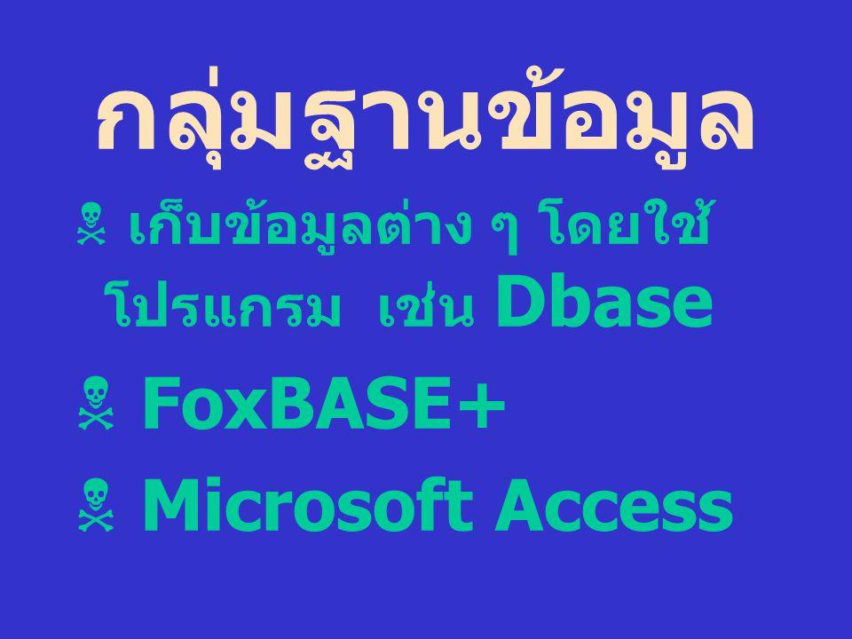 กลุ่มฐานข้อมูล  เก็บข้อมูลต่าง ๆ โดยใช้ โปรแกรม เช่น Dbase  FoxBASE+  Microsoft Access