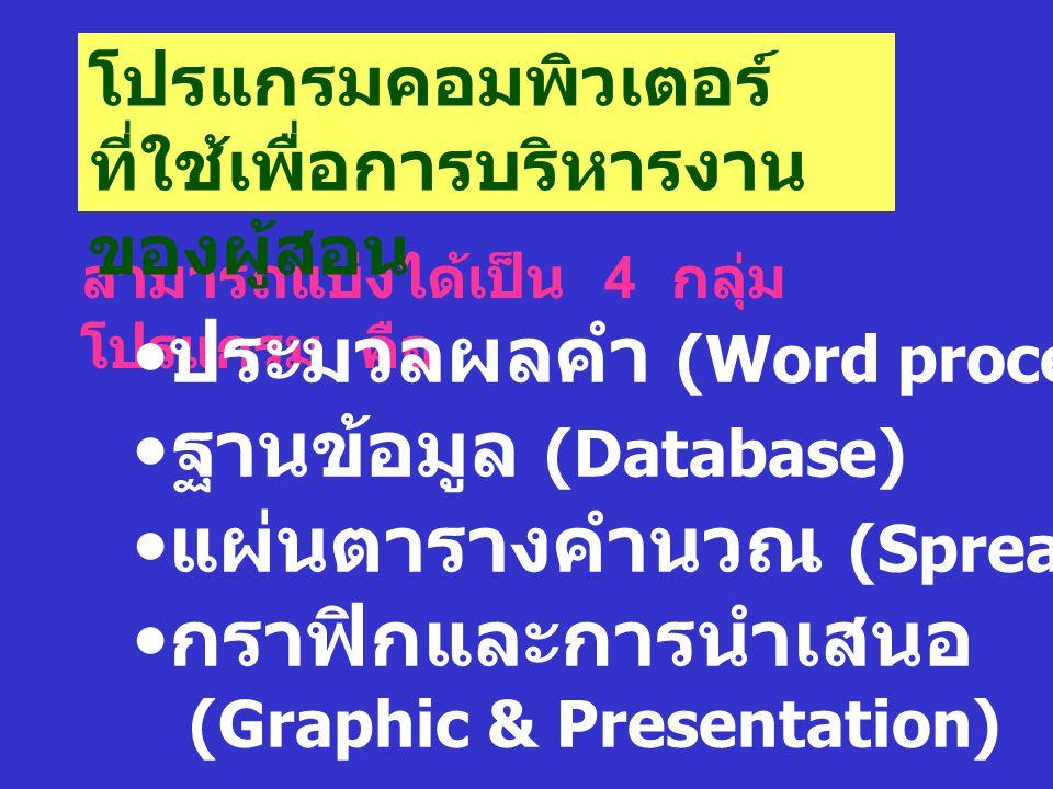 สามารถแบ่งได้เป็น 4 กลุ่ม โปรแกรม คือ โปรแกรมคอมพิวเตอร์ ที่ใช้เพื่อการบริหารงาน ของผู้สอน ประมวลผลคำ (Word processor) ฐานข้อมูล (Database) แผ่นตารางค
