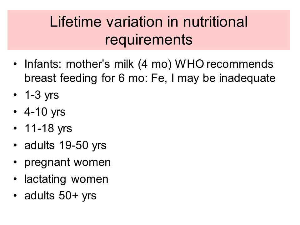 Lifetime variation in nutritional requirements Infants: mother's milk (4 mo) WHO recommends breast feeding for 6 mo: Fe, I may be inadequate 1-3 yrs 4-10 yrs 11-18 yrs adults 19-50 yrs pregnant women lactating women adults 50+ yrs