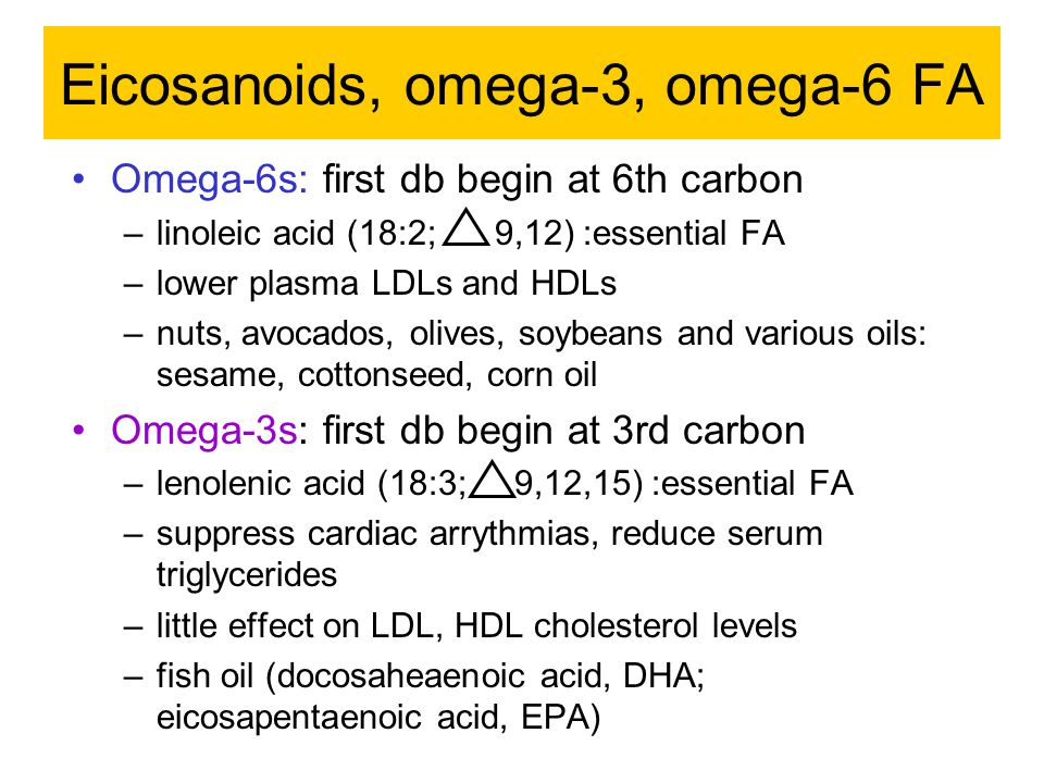 Eicosanoids, omega-3, omega-6 FA Omega-6s: first db begin at 6th carbon –linoleic acid (18:2; 9,12) :essential FA –lower plasma LDLs and HDLs –nuts, avocados, olives, soybeans and various oils: sesame, cottonseed, corn oil Omega-3s: first db begin at 3rd carbon –lenolenic acid (18:3; 9,12,15) :essential FA –suppress cardiac arrythmias, reduce serum triglycerides –little effect on LDL, HDL cholesterol levels –fish oil (docosaheaenoic acid, DHA; eicosapentaenoic acid, EPA)