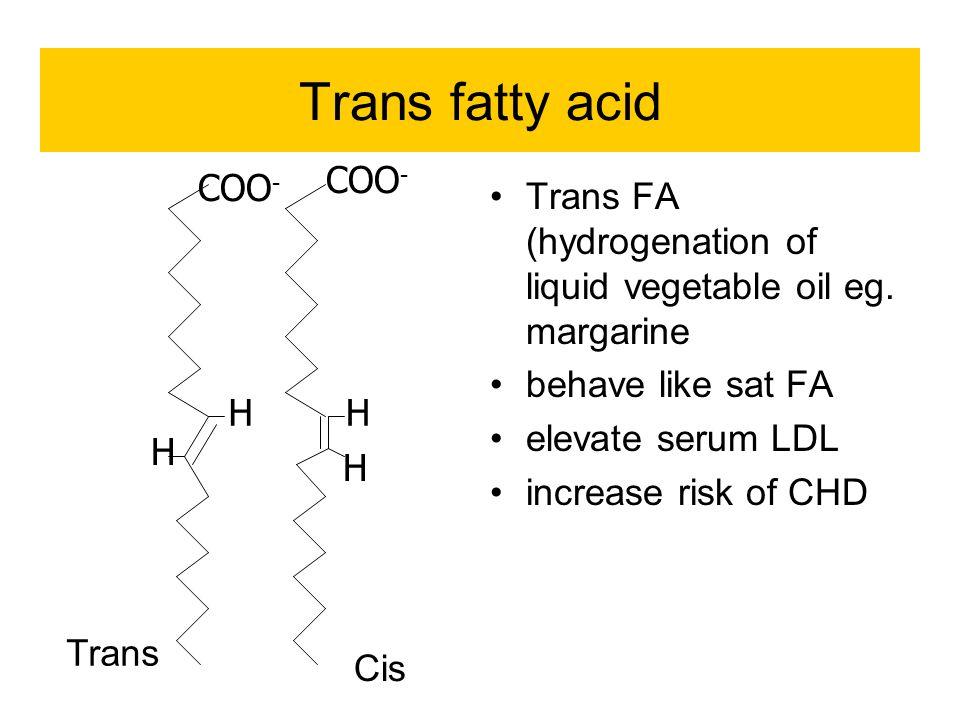 Trans fatty acid Trans FA (hydrogenation of liquid vegetable oil eg.