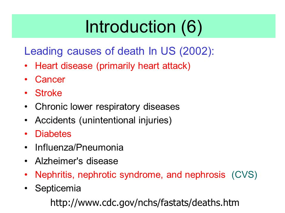 Leading causes of death In US (2002): Heart disease (primarily heart attack) Cancer Stroke Chronic lower respiratory diseases Accidents (unintentional
