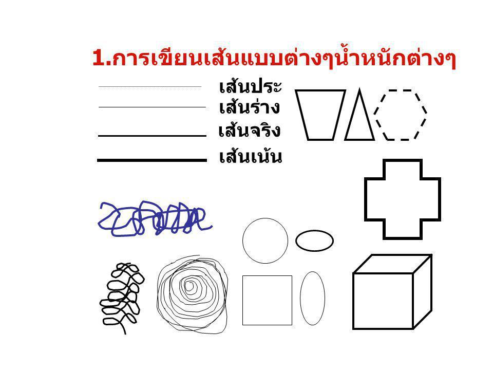 1. การเขียนเส้นแบบต่างๆน้ำหนักต่างๆ เส้นประ เส้นร่าง เส้นจริง เส้นเน้น