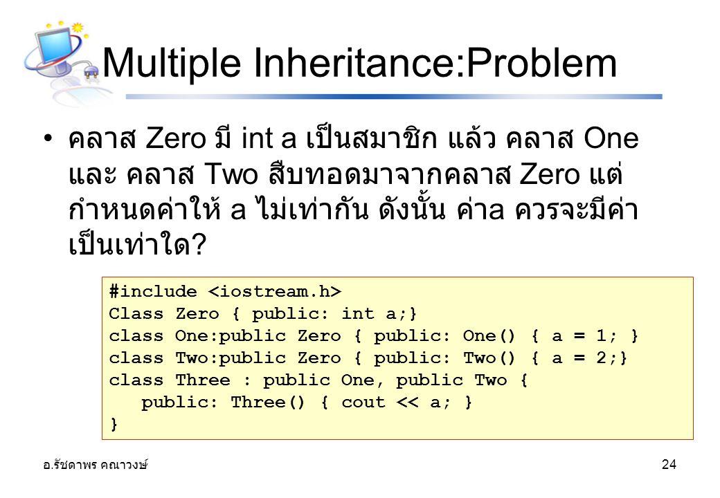 อ. รัชดาพร คณาวงษ์ 24 Multiple Inheritance:Problem คลาส Zero มี int a เป็นสมาชิก แล้ว คลาส One และ คลาส Two สืบทอดมาจากคลาส Zero แต่ กำหนดค่าให้ a ไม่