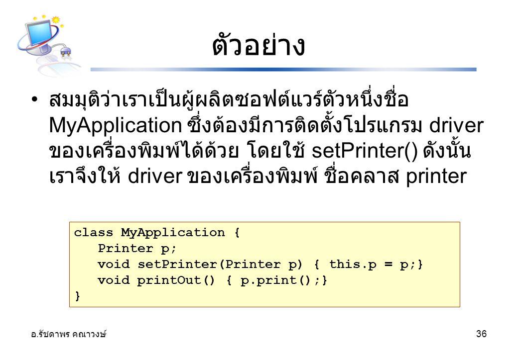 อ. รัชดาพร คณาวงษ์ 36 ตัวอย่าง สมมุติว่าเราเป็นผู้ผลิตซอฟต์แวร์ตัวหนึ่งชื่อ MyApplication ซึ่งต้องมีการติดตั้งโปรแกรม driver ของเครื่องพิมพ์ได้ด้วย โด