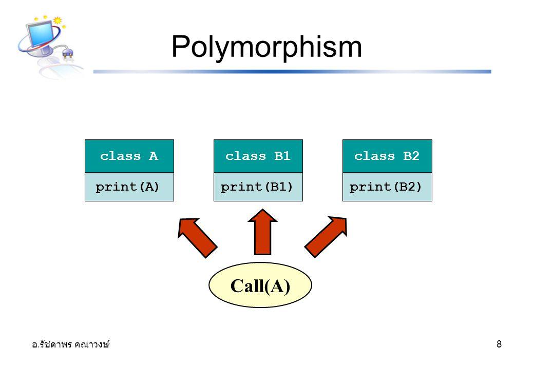 อ. รัชดาพร คณาวงษ์ 8 Polymorphism print(A)print(B1)print(B2) class Aclass B1class B2 Call(A)