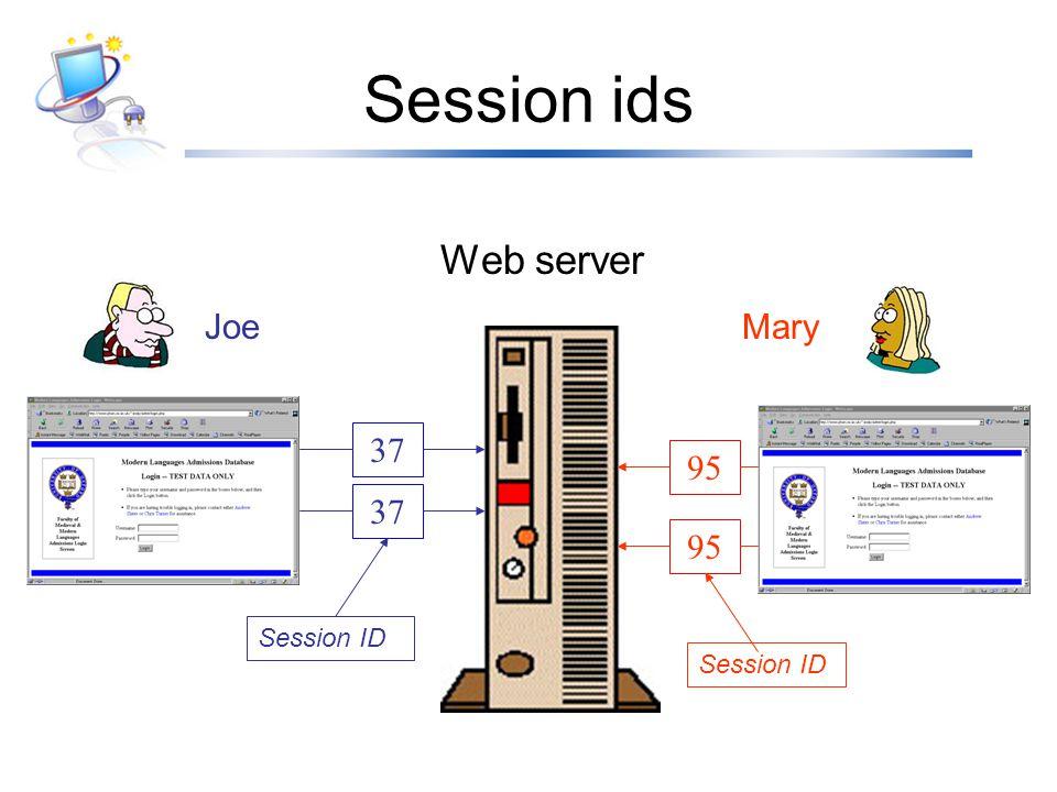 Session ids JoeMary Web server 37 95 Session ID
