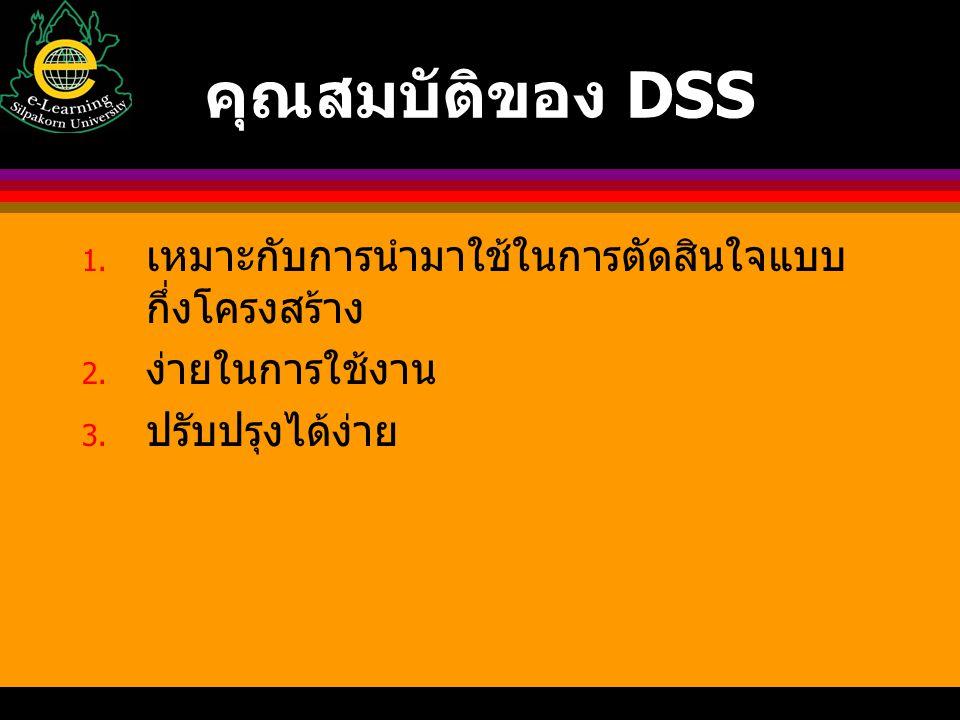 คุณสมบัติของ DSS 1. เหมาะกับการนำมาใช้ในการตัดสินใจแบบ กึ่งโครงสร้าง 2. ง่ายในการใช้งาน 3. ปรับปรุงได้ง่าย