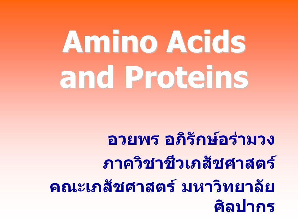 Amino Acids and Proteins อวยพร อภิรักษ์อร่ามวง ภาควิชาชีวเภสัชศาสตร์ คณะเภสัชศาสตร์ มหาวิทยาลัย ศิลปากร