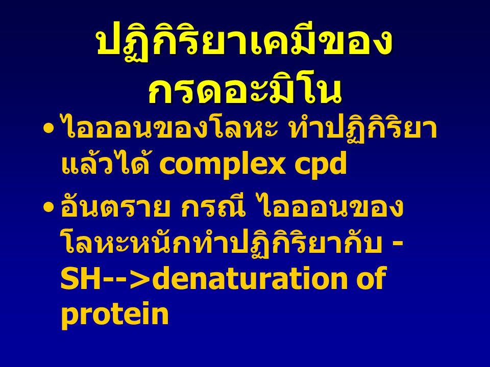 ปฏิกิริยาเคมีของ กรดอะมิโน ไอออนของโลหะ ทำปฏิกิริยา แล้วได้ complex cpd อันตราย กรณี ไอออนของ โลหะหนักทำปฏิกิริยากับ - SH-->denaturation of protein