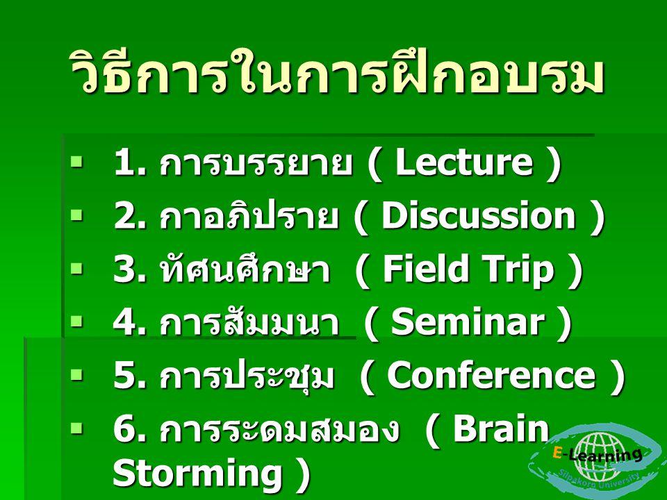 วิธีการในการฝึกอบรม  1. การบรรยาย ( Lecture )  2. กาอภิปราย ( Discussion )  3. ทัศนศึกษา ( Field Trip )  4. การสัมมนา ( Seminar )  5. การประชุม (