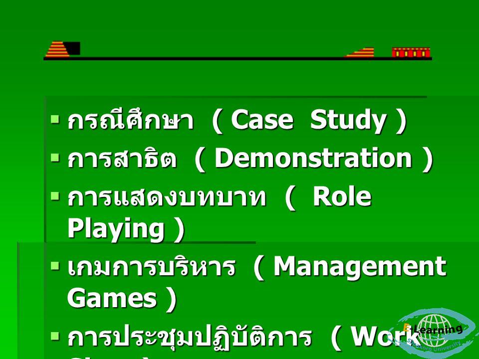  กรณีศึกษา ( Case Study )  การสาธิต ( Demonstration )  การแสดงบทบาท ( Role Playing )  เกมการบริหาร ( Management Games )  การประชุมปฏิบัติการ ( Work Shop )  กิจกรรม ( Activities )
