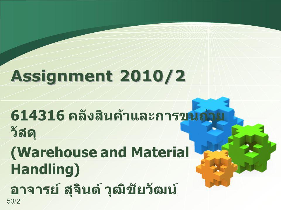 Assignment 2010/2 614316 คลังสินค้าและการขนถ่าย วัสดุ (Warehouse and Material Handling) อาจารย์ สุจินต์ วุฒิชัยวัฒน์ 53/2