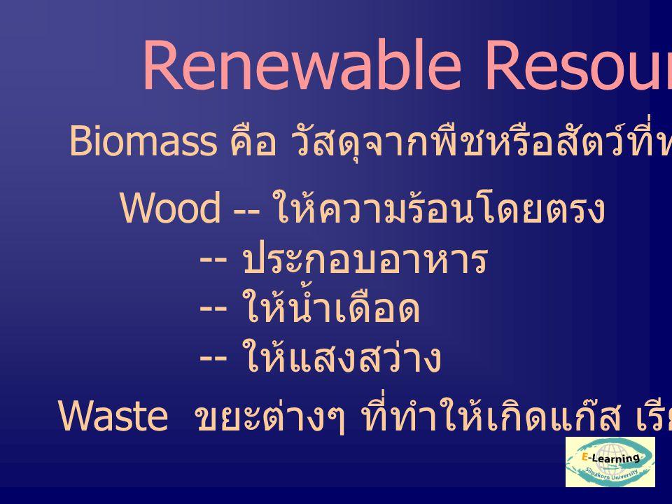 Renewable Resources Biomass คือ วัสดุจากพืชหรือสัตว์ที่ทำให้เกิด fuel Wood -- ให้ความร้อนโดยตรง -- ประกอบอาหาร -- ให้น้ำเดือด -- ให้แสงสว่าง Waste ขยะต่างๆ ที่ทำให้เกิดแก๊ส เรียกว่า Biogas