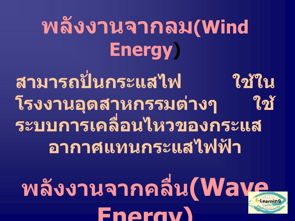 พลังงานจากลม (Wind Energy) สามารถปั่นกระแสไฟ ใช้ใน โรงงานอุตสาหกรรมต่างๆ ใช้ ระบบการเคลื่อนไหวของกระแส อากาศแทนกระแสไฟฟ้า พลังงานจากคลื่น (Wave Energy) ใช้ในอุตสาหกรรมบาง ประเภท แต่ได้พลังงานน้อย