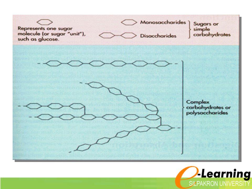 การจัดกลุ่มตาม โครงสร้าง  Monosaccharid es  Oligosaccharid es  Polysaccharide s