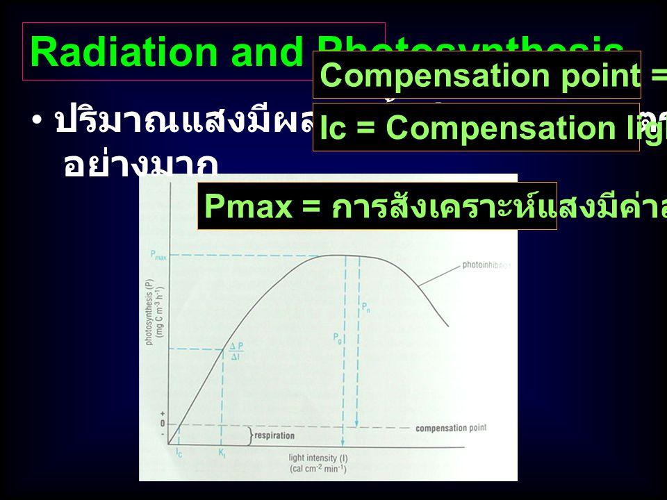 Radiation and Photosynthesis ปริมาณแสงมีผลต่อทั้งปริมาณและอัตรา Photosynthesis อย่างมาก Pmax = การสังเคราะห์แสงมีค่าสูงที่สุด Ic = Compensation light