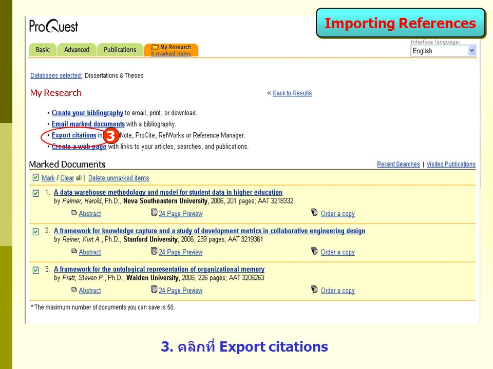 3 3. คลิกที่ Export citations Importing References