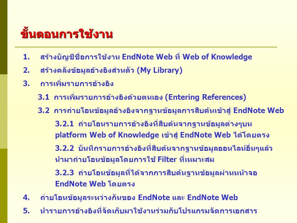 1.สร้างบัญชีชื่อการใช้งาน EndNote Web ที่ Web of Knowledge 2.สร้างคลังข้อมูลอ้างอิงส่วนตัว (My Library) 3.การเพิ่มรายการอ้างอิง 3.1 การเพิ่มรายการอ้างอิงด้วยตนเอง (Entering References) 3.2 การถ่ายโอนข้อมูลอ้างอิงจากฐานข้อมูลการสืบค้นเข้าสู่ EndNote Web 3.2.1 ถ่ายโอนรายการอ้างอิงที่สืบค้นจากฐานข้อมูลต่างๆบน platform Web of Knowledge เข้าสู่ EndNote Web ได้โดยตรง 3.2.2 บันทึกรายการอ้างอิงที่สืบค้นจากฐานข้อมูลออนไลน์อื่นๆแล้ว นำมาถ่ายโอนข้อมูลโดยการใช้ Filter ที่เหมาะสม 3.2.3 ถ่ายโอนข้อมูลที่ได้จากการสืบค้นฐานข้อมูลผ่านหน้าจอ EndNote Web โดยตรง 4.ถ่ายโอนข้อมูลระหว่างกันของ EndNote และ EndNote Web 5.นำรายการอ้างอิงที่จัดเก็บมาใช้งานร่วมกับโปรแกรมจัดการเอกสาร ขั้นตอนการใช้งาน