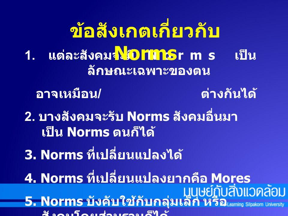 1.แต่ละสังคมจะมี Norms เป็น ลักษณะเฉพาะของตน อาจเหมือน / ต่างกันได้ 2.