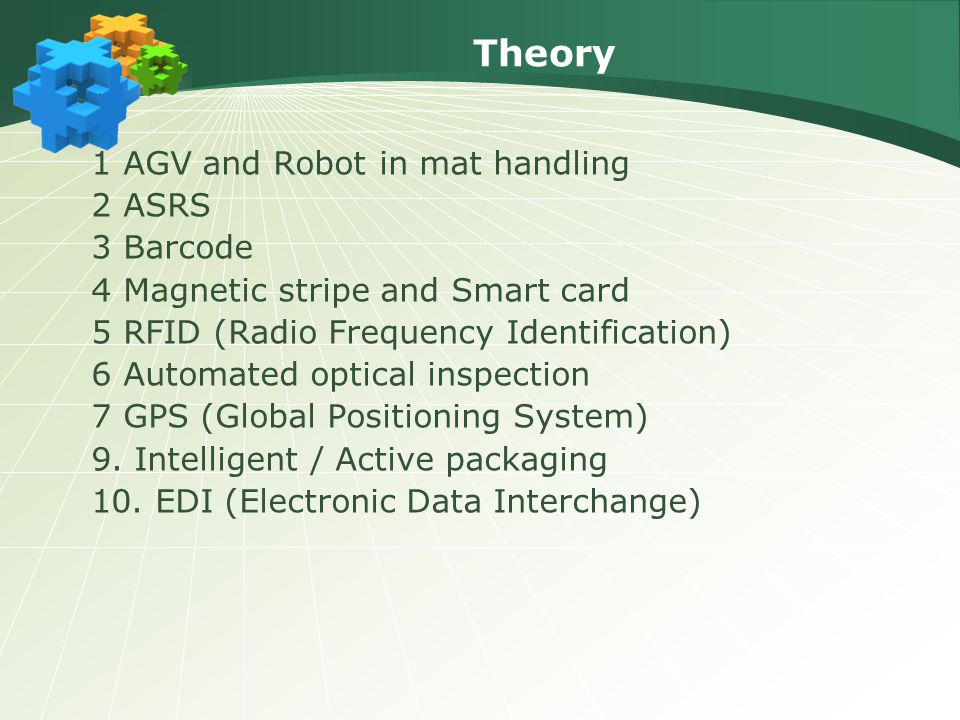 Theory 1 AGV and Robot in mat handling 2 ASRS 3 Barcode 4 Magnetic stripe and Smart card 5 RFID (Radio Frequency Identification) 6 Automated optical inspection 7 GPS (Global Positioning System) 9.