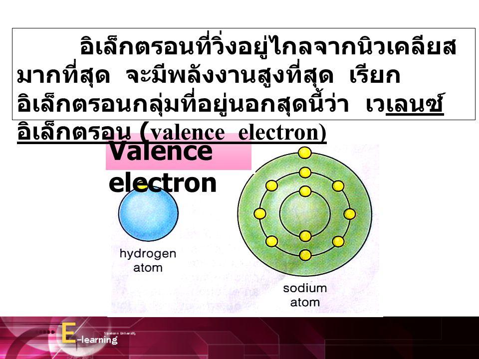 Valence electron อิเล็กตรอนที่วิ่งอยู่ไกลจากนิวเคลียส มากที่สุด จะมีพลังงานสูงที่สุด เรียก อิเล็กตรอนกลุ่มที่อยู่นอกสุดนี้ว่า เวเลนซ์ อิเล็กตรอน (vale