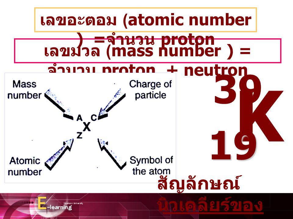 เลขมวล (mass number ) = จำนวน proton + neutron เลขอะตอม (atomic number ) = จำนวน proton K 39 19 สัญลักษณ์ นิวเคลียร์ของ ธาตุ