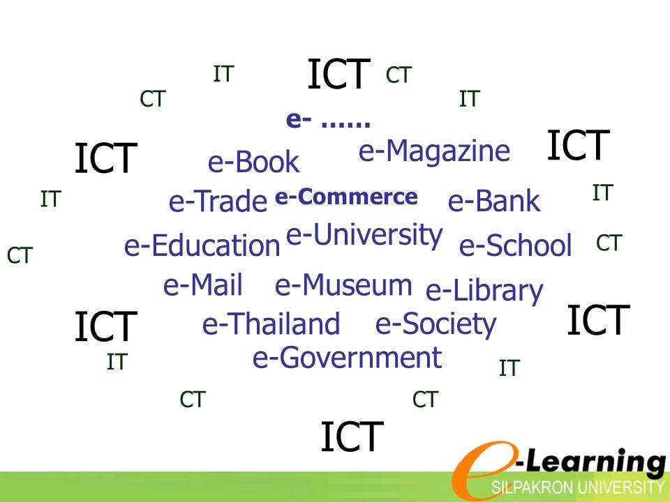 e-Bank e-Book e-Magazine e-Trade e-Commerce e-Schoole-Education e-Museum e-University e-Mail e-Thailand e-Society e- …… e-Library ICT e-Government CT