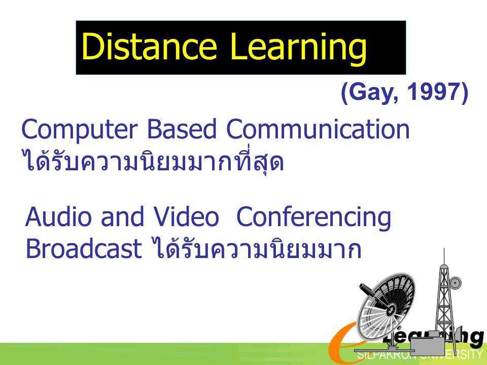 Audio and Video Conferencing Broadcast ได้รับความนิยมมาก Computer Based Communication ได้รับความนิยมมากที่สุด (Gay, 1997) Distance Learning