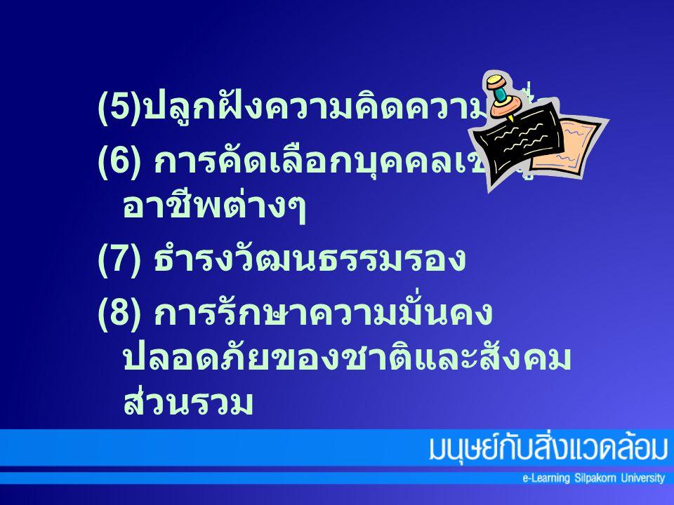 ๑. หน้าที่การธำรงสังคม ( Conservative Functions ) 1. หน้าที่หลัก ( Manifest Functions ) (1) การดำรงรักษา และถ่ายทอดมรดกทางวัฒนธรรม (2) การบูรณาการทางส