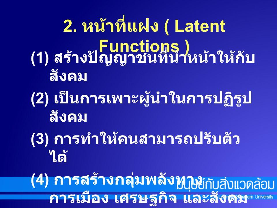 ๒. หน้าที่ การเปลี่ยนแปลงสังคม ( innovative Functions ) 1. หน้าที่หลัก ( Manifest Functions ) (1) สร้างวัฒนธรรมใหม่และเผยแพร่ (2) ส่งเสริมการพัฒนาส่วน
