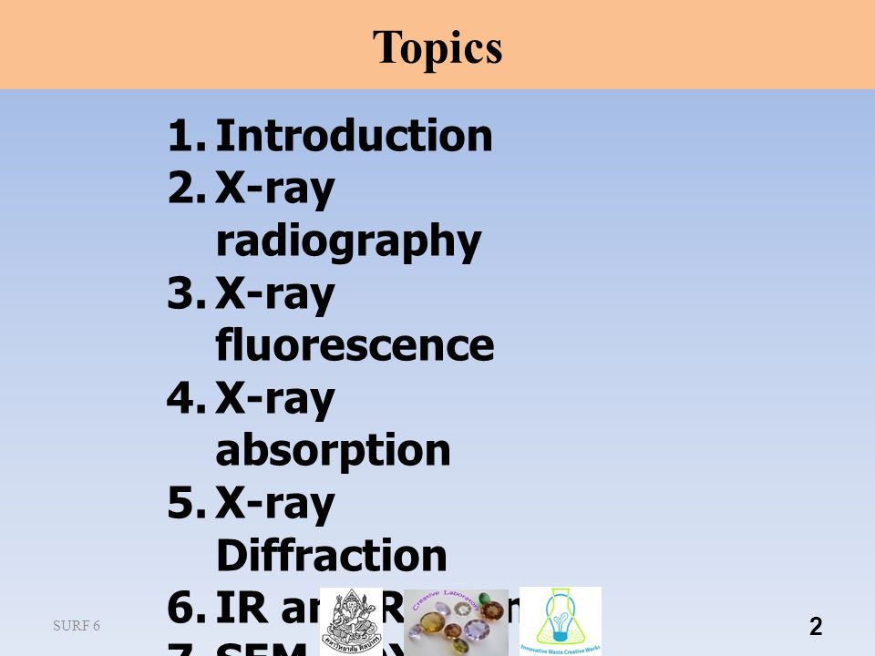 2 1.Introduction 2.X-ray radiography 3.X-ray fluorescence 4.X-ray absorption 5.X-ray Diffraction 6.IR and Raman 7.SEM-EDX 8.AA, ICP Topics SURF 6