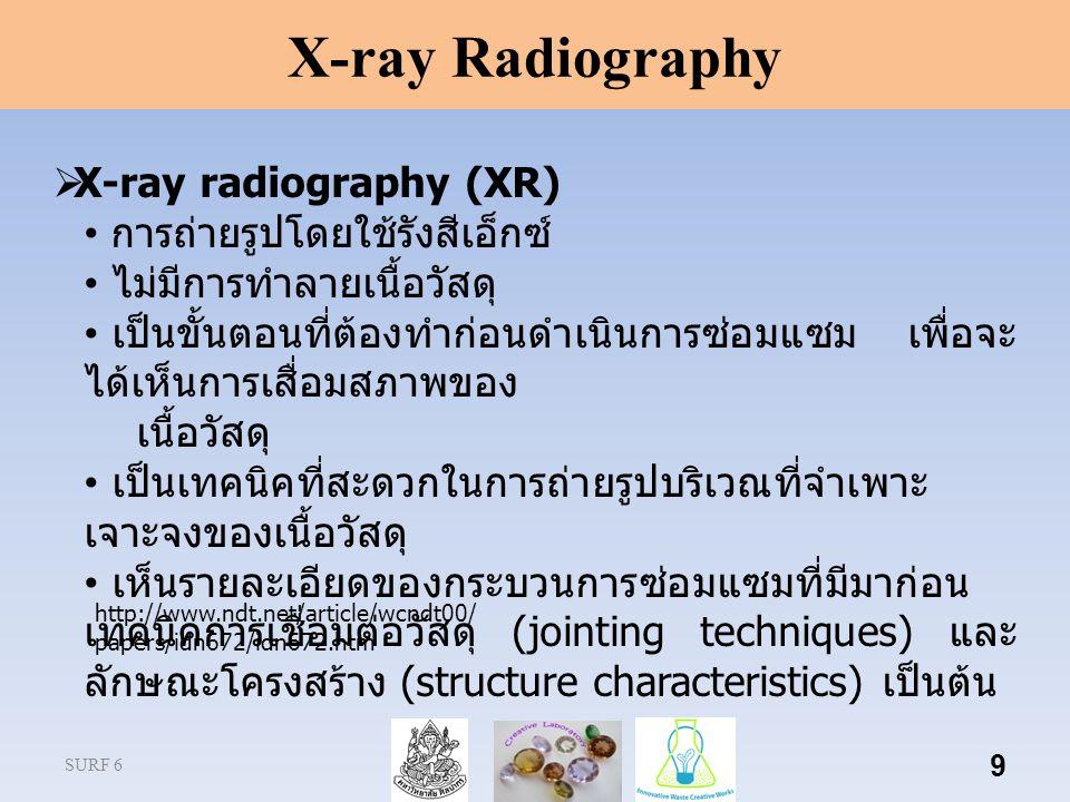 SURF 6 9  X-ray radiography (XR) การถ่ายรูปโดยใช้รังสีเอ็กซ์ ไม่มีการทำลายเนื้อวัสดุ เป็นขั้นตอนที่ต้องทำก่อนดำเนินการซ่อมแซม เพื่อจะ ได้เห็นการเสื่อมสภาพของ เนื้อวัสดุ เป็นเทคนิคที่สะดวกในการถ่ายรูปบริเวณที่จำเพาะ เจาะจงของเนื้อวัสดุ เห็นรายละเอียดของกระบวนการซ่อมแซมที่มีมาก่อน เทคนิคการเชื่อมต่อวัสดุ (jointing techniques) และ ลักษณะโครงสร้าง (structure characteristics) เป็นต้น X-ray Radiography http://www.ndt.net/article/wcndt00/ papers/idn672/idn672.htm