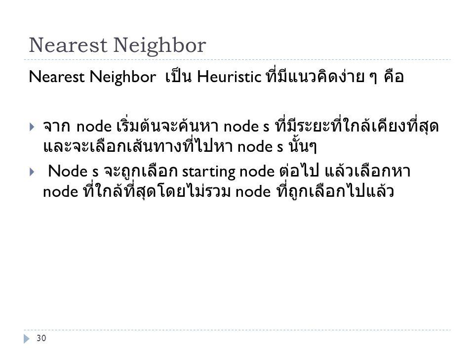 Nearest Neighbor Nearest Neighbor เป็น Heuristic ที่มีแนวคิดง่าย ๆ คือ  จาก node เริ่มต้นจะค้นหา node s ที่มีระยะที่ใกล้เคียงที่สุด และจะเลือกเส้นทาง