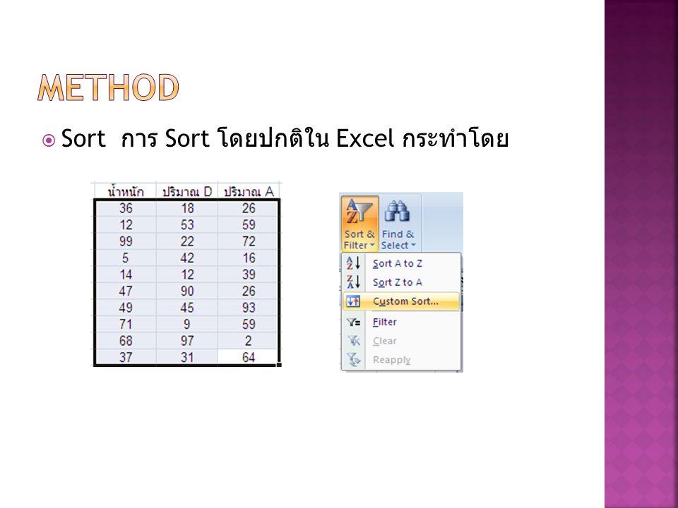  Sort การ Sort โดยปกติใน Excel กระทำโดย