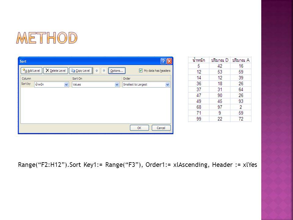 """Range(""""F2:H12"""").Sort Key1:= Range(""""F3""""), Order1:= xlAscending, Header := xlYes"""