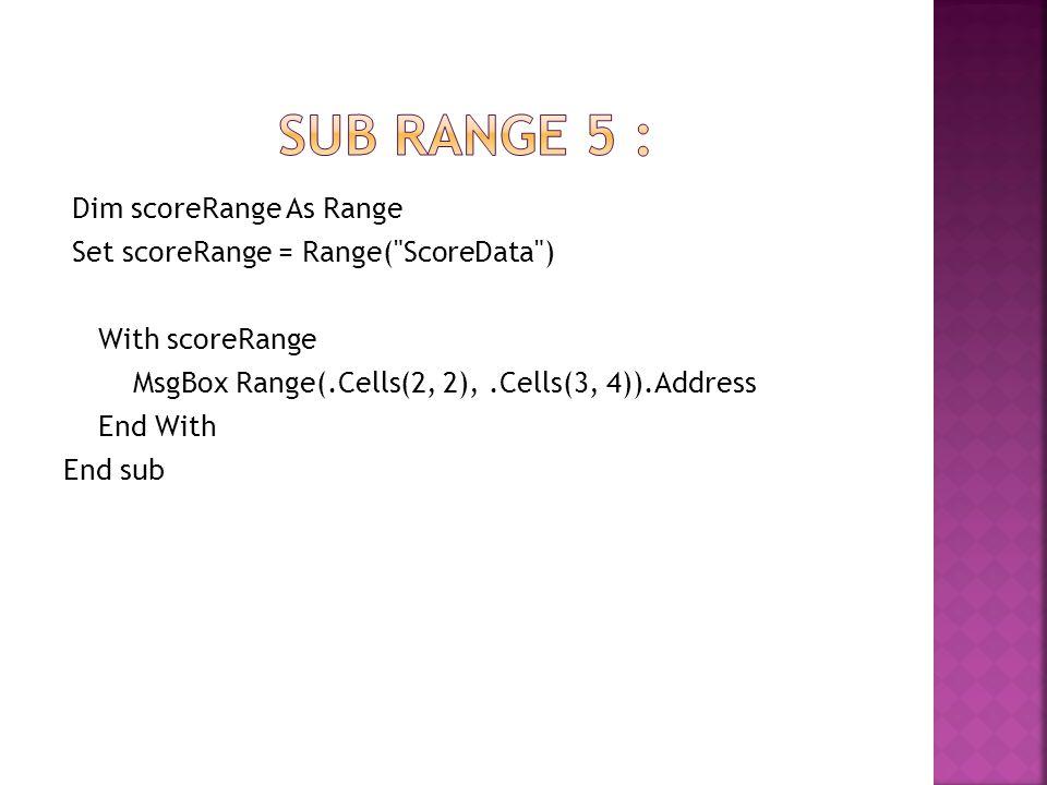 Dim scoreRange As Range Set scoreRange = Range(