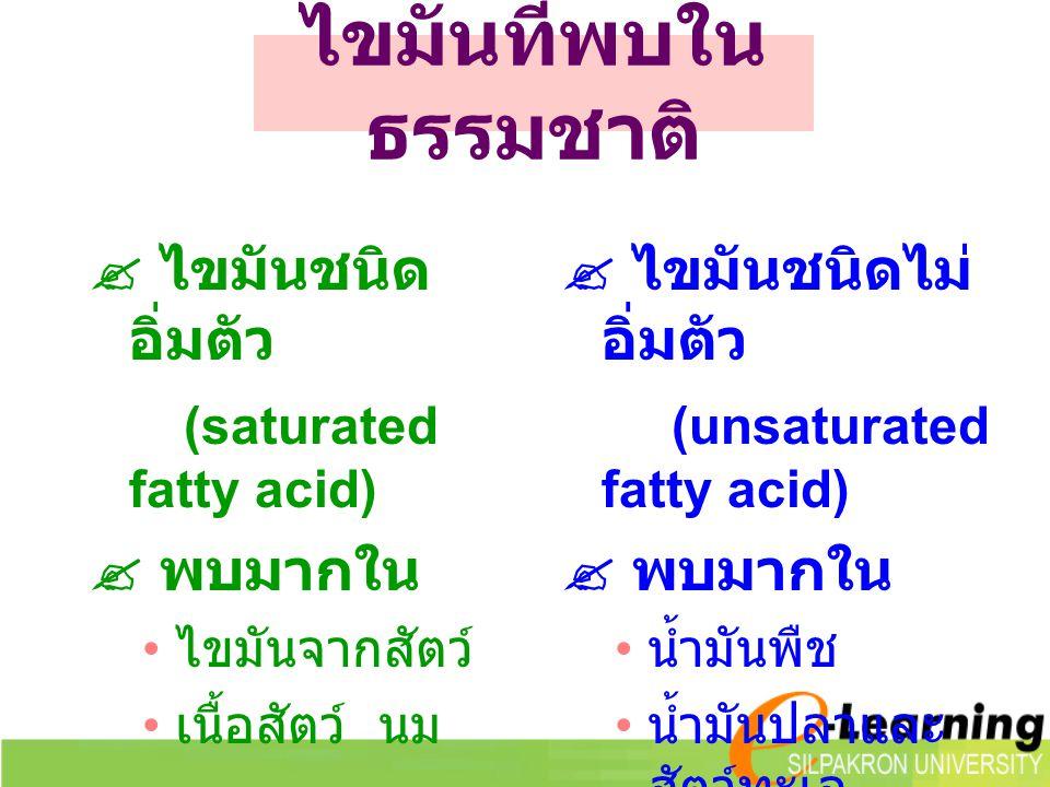 ไขมันที่พบใน ธรรมชาติ  ไขมันชนิด อิ่มตัว (saturated fatty acid)  พบมากใน ไขมันจากสัตว์ เนื้อสัตว์ นม  ไขมันชนิดไม่ อิ่มตัว (unsaturated fatty acid)  พบมากใน น้ำมันพืช น้ำมันปลาและ สัตว์ทะเล