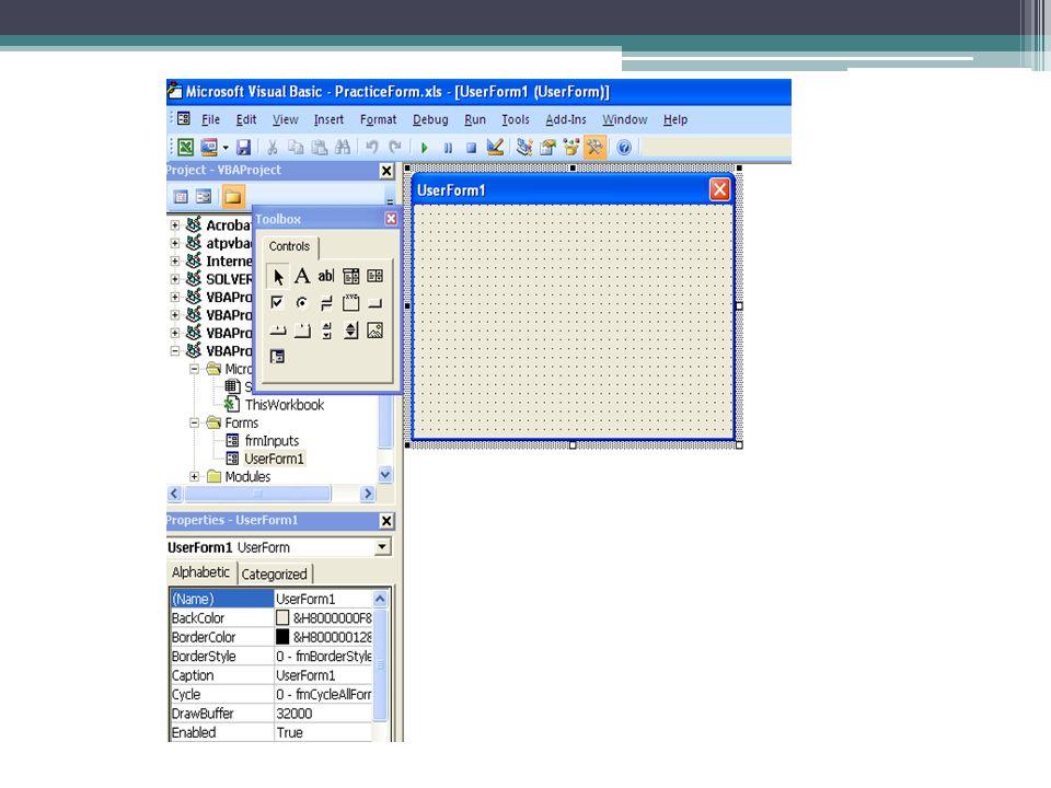 Toolbox แถวแรกประกอบด้วย Label, TextBox, ComboBox, ListBox แถวที่สองประกอบด้วย CheckBox, OptionButton, ToggleButton, Frame, Command Button แถวที่สามประกอบด้วย TabStrip, MultiPage, ScrollBar, SpinButton, Image แถวที่สี่ประกอบด้วย RefEdit