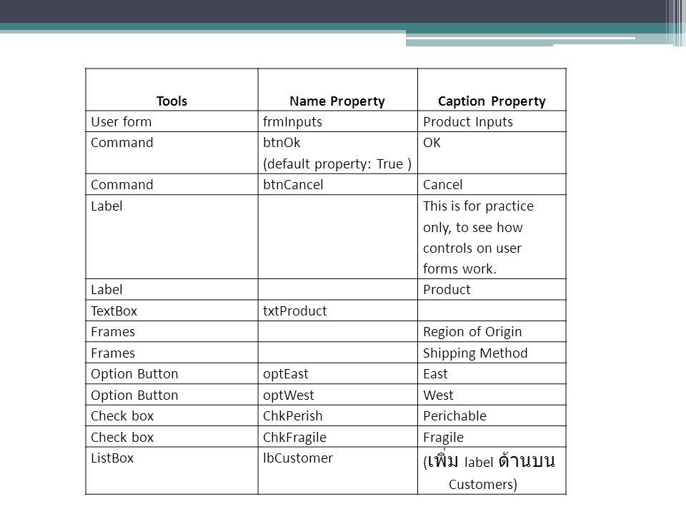 ToolsName PropertyCaption Property User formfrmInputsProduct Inputs Command btnOk (default property: True ) OK CommandbtnCancelCancel Label This is fo