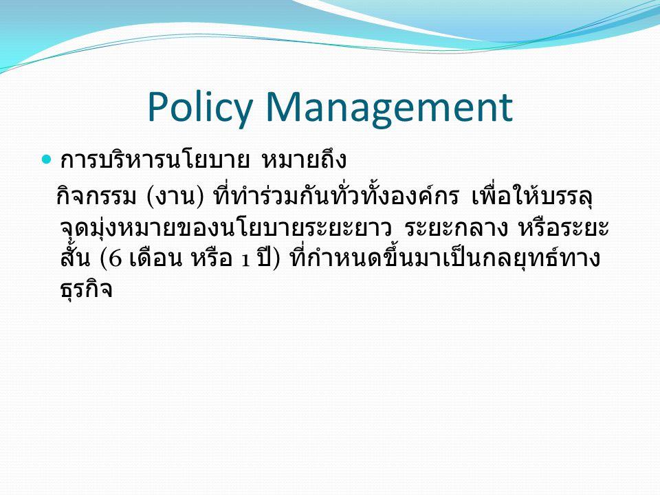 Policy Management การบริหารนโยบาย หมายถึง กิจกรรม ( งาน ) ที่ทำร่วมกันทั่วทั้งองค์กร เพื่อให้บรรลุ จุดมุ่งหมายของนโยบายระยะยาว ระยะกลาง หรือระยะ สั้น