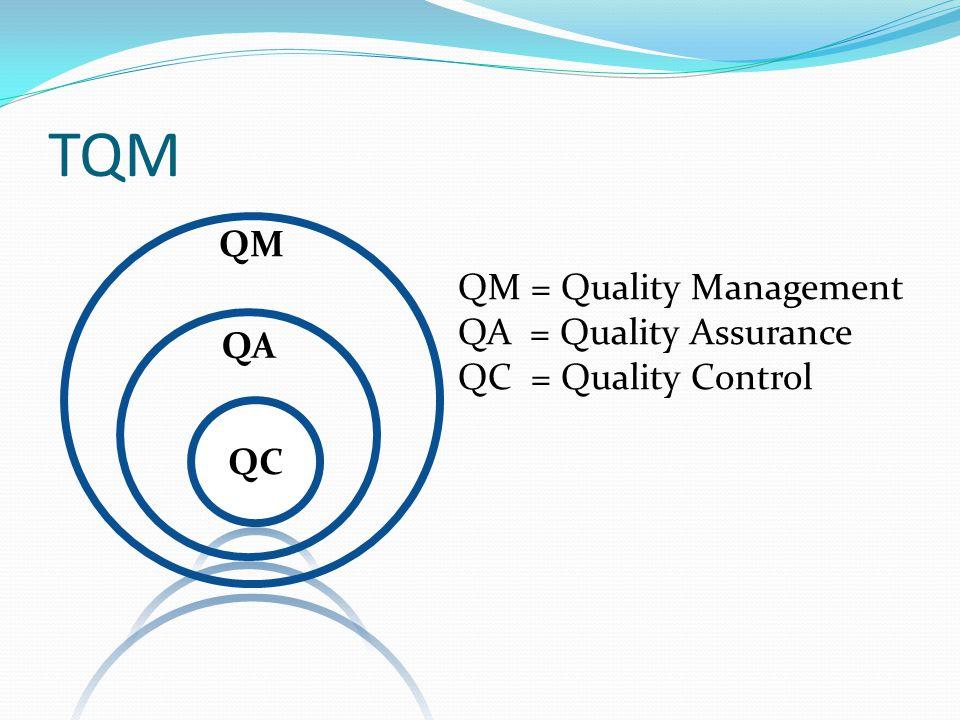 Quality Control: QC เน้นที่การตรวจเช็คเป็นหลัก ตรวจหาจุดบกพร่องและแยกของเสียทิ้ง บทบาทของผู้ตรวจคือ การตรวจดูผลงานของ ผู้อื่น ว่าถูกต้องหรือเปล่า แล้วส่งผลการตรวจ เพื่อเป็นข้อมูลให้กับฝ่ายผลิต เน้น จำนวนผลงาน ที่ถูกต้องตามกำหนด หรือ จำนวนที่ทำเสีย