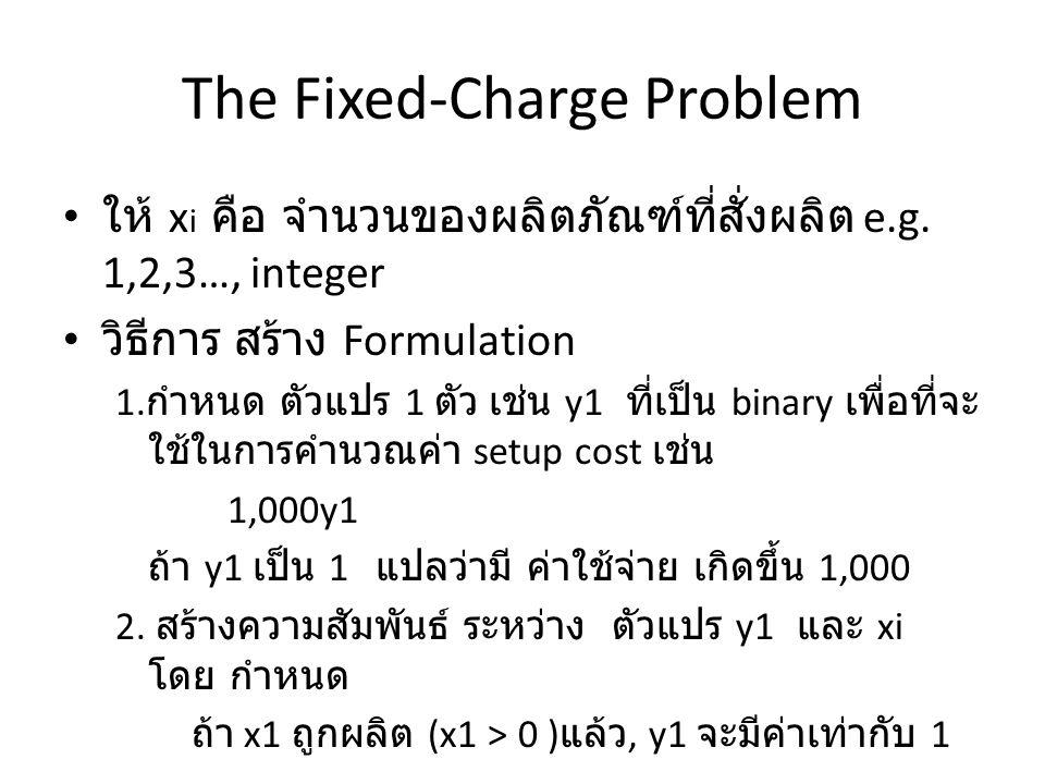 The Fixed-Charge Problem X 1 ≤ My 1 M = ตัวเลขที่มีค่ามาก ๆ เช่น 10,000 y 1 = 1 ถ้า ผลิตภัณฑ์ที่ 1 ถูกสั่งให้ผลิต 0 ถ้า ผลิตภัณฑ์ที่ 1 ถูกสั่งให้ผลิต e.g.