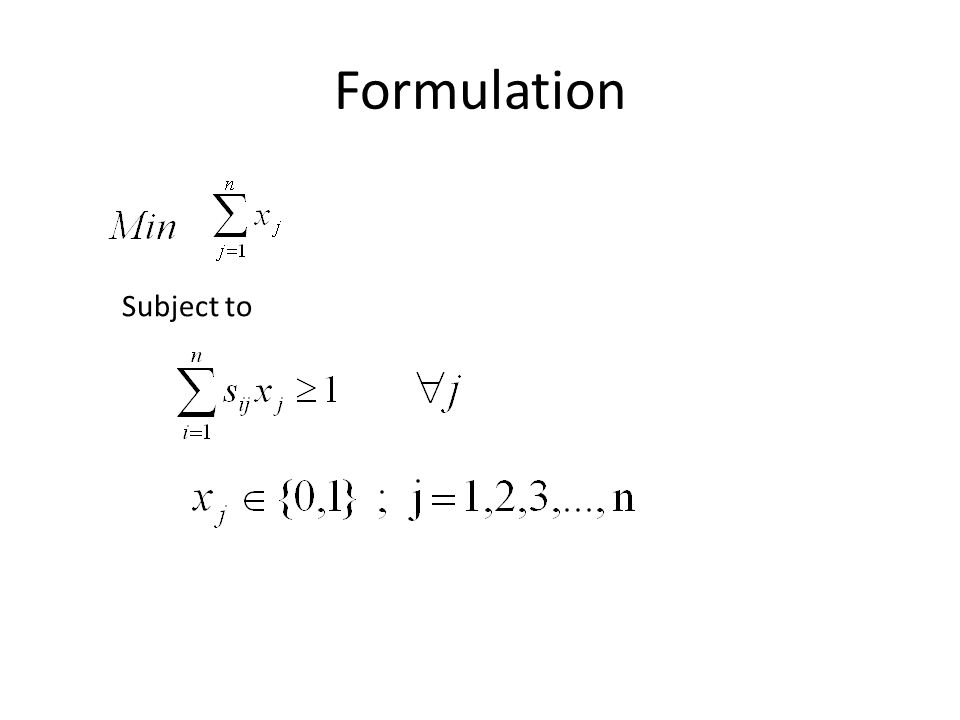 Formulation Subject to