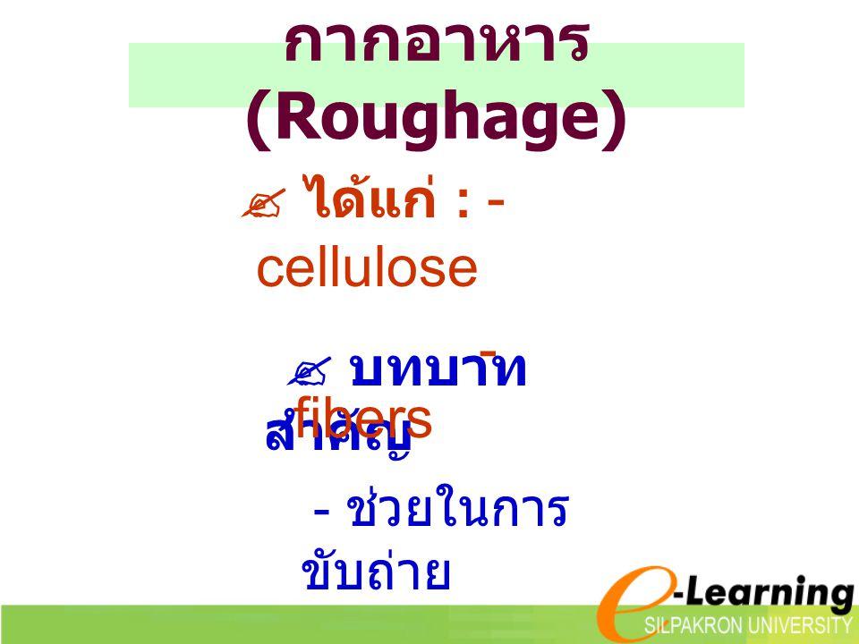 กากอาหาร (Roughage)  บทบาท สำคัญ - ช่วยในการ ขับถ่าย  ได้แก่ : - cellulose - fibers