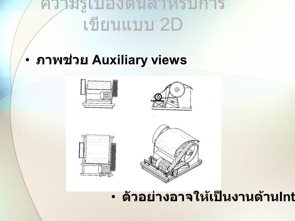 ภาพช่วย Auxiliary views ความรู้เบื้องต้นสำหรับการ เขียนแบบ 2 D ตัวอย่างอาจให้เป็นงานด้าน Interior